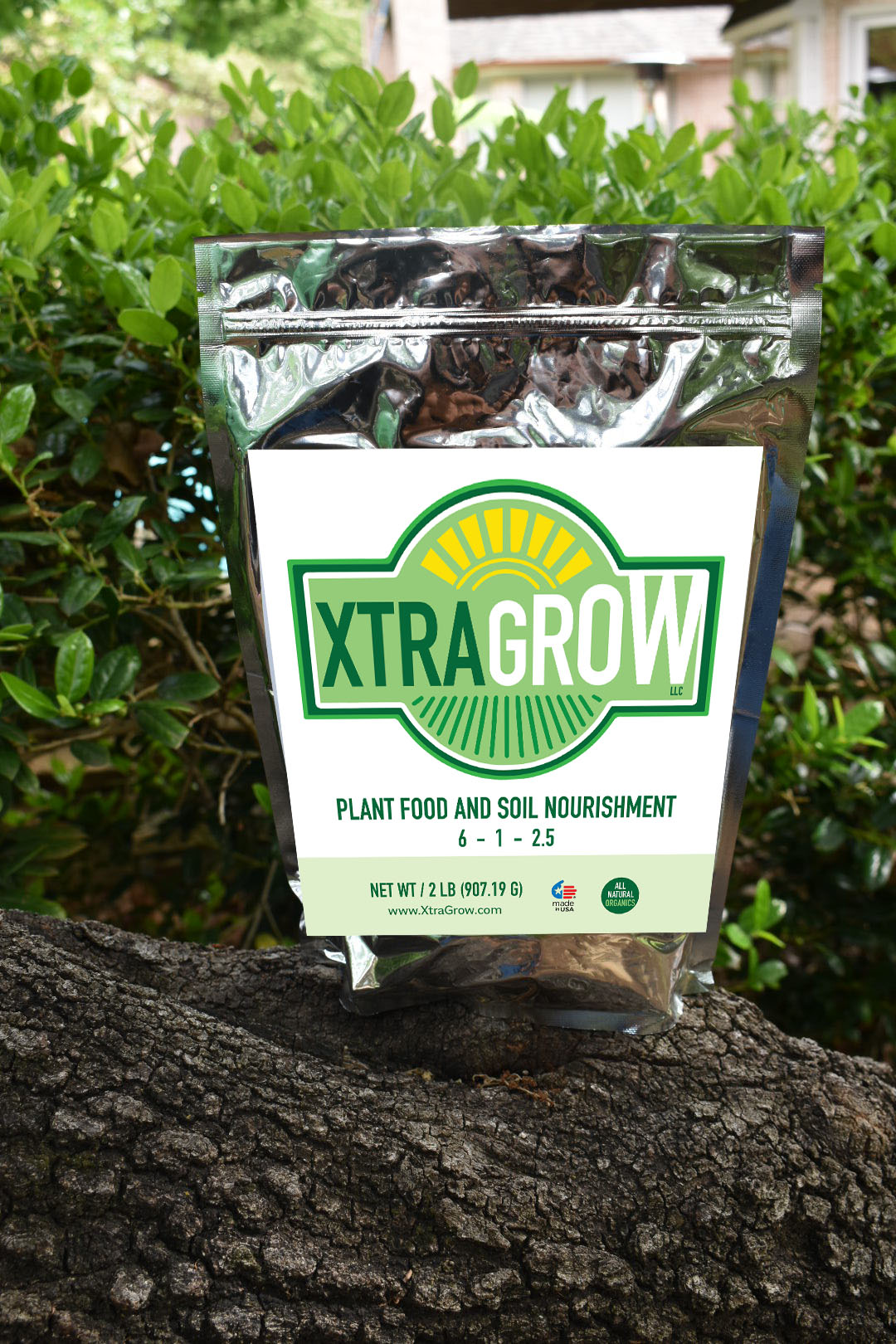 Premium Organic Plant Based Fertilizer Video Xtragrow on tree trunk 1